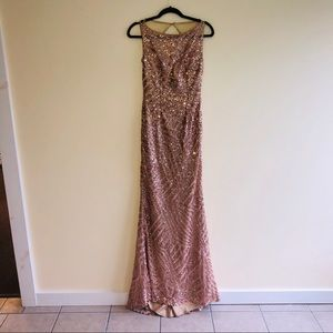 Jovani prom or pageant gown gold glitter size 2